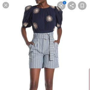 Free People Blue & White Stripe Utility Shorts